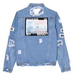 Wholesale Women S Bomber Jackets - Where is my mind? Korea retro washing frayed embroidery letter patch jeans bomber jacket Light Blue Ripped Denim Coat Daylook new shipping