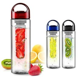 Wholesale Fruit Water Infuser - 700ml Fruit Juice Cup Infuser Sport Drinking Detox Water Bottles Flip Lid Bicycle Bottles free shipping