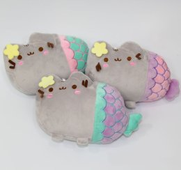 Wholesale Plush Cat Toys - Wholesale New Super Cute Pusheen Fat Cat Mermaid Plush Stuffed Doll Toys Kids Christmas Gifts free shipping