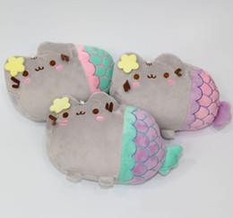 Wholesale Stuffed Plush Halloween - Wholesale New Super Cute Pusheen Fat Cat Mermaid Plush Stuffed Doll Toys Kids Christmas Gifts free shipping