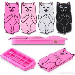Wholesale Iphone Cases Silicon Animals - 3D Soft Silicon Cat Case Middle Finger pocket Cartoon Animals Rubbe silicone Capa Cover For iPhone 6 6s iPhone8 Plus 7 8