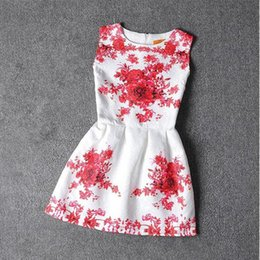 Wholesale Wholesaler For Teen Dresses - Vintage girls dresses red flower printed princess dresses for kids summer kids clothes big size teen girl boutique clothes