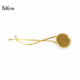 Wholesale Hairpins Blank - BoYuTe 20pcs Silver Gold Hair Clips with 20MM Round Cabochon Base Blank Tray Wave Barrettes Diy Hairpins for Girls