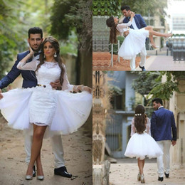 Wholesale Formal Removable Skirt - 2017 Two Pieces White Fashion Half Sleeves A-line Wedding Dresses with Removable Skirt Applique Sashes Formal Homecoming Party Dresses
