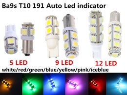 Wholesale Ba9s Led Yellow Light - white red blue green yellow pink T10 BA9S 5050smd 5 9 13 LED instrumentment indicator wedge plate Car LED light