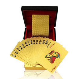 Wholesale Playing Cards Poker Size - POKER 24K GOLD PLAYING CARDS BRIDGE SIZE REGULAR INDEX US $100 WITH CERTIFICATE Game Playing Card Family Game Playing Card