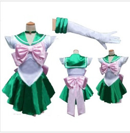 Wholesale Hot Cosplay Spandex - Wholesale-Free shipping 2016 Hot Selling Sailor Moon Jupiter Costume Cosplay Uniform Sailormoon Fancy Dress & Gloves