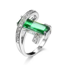 Wholesale Solitaire Emerald Rings - Designer Bypass Band Long Rectangle Emerald Stone Cocktail Rings Silver Channel Setting CZ Stone Stretch Green Statement Ring