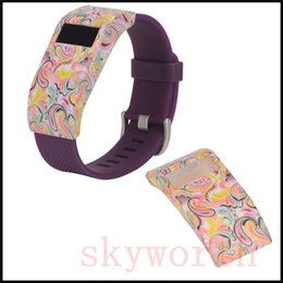 Wholesale Drop Charge - Skull Flower leopard Print Plastic Bands Anti-drop Bracelets Safe Lock Protector Case for Fitbit Charge HR