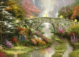 Wholesale High Quality Spray Paint - Thomas Kinkade Landscape Oil Painting Reproduction High Quality Giclee Print on Canvas Modern Home Art Decor TK066