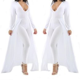 Wholesale White Jumpsuit Women Long Sleeve - Wholesale- Women Long Sleeve Deep V Neck Bodysuit Sexy Olive Green White Cap Cloak One Piece Choker Bodycon Jumpsuit Plus Size Rompers