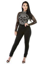 Wholesale Plus Size 26 Shorts - New Pattern Sexy Nightclub European Suit-dress Lace Long Sleeve Close Lin Tai Pants Jumpsuit Plus Size Bodysuit Women Mini Short