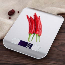 Wholesale Digital Scales 1g - LCD Digital Kitchen Scale Fingerprint-proof Stainless Steel Platform 5000g   1g Weighing Device Electric Food Weight Scales