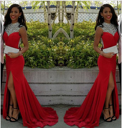 Wholesale Discount Mermaid Dresses - Free Shipping Elegant Mermaid Sexy Red High-Neck Evening Dress 2017 Split Crystals African Discount Prom Dress