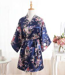 Wholesale Satin Night Gowns For Women - Wholesale- Silk Satin Flower Wedding Bride Bridesmaid Robes Floral Bathrobe Short Kimono Robe Fashion Dressing Night Gown For Women