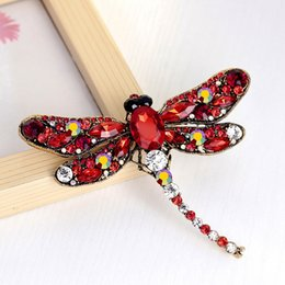 Wholesale Vintage Christmas Scarf - Vintage Design 6 Colors Crystal Rhinestone Dragonfly Brooches for Women Dress Scarf Brooch Pins Jewelry Accessories Gift