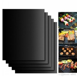 Wholesale Teflon Mat - Non Stick Grill Pad High Temperature Resistant Outdoor BBQ Mats Resuable Easy To Clean Baking Mat Black Gold 23jr B