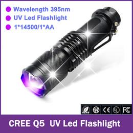 Wholesale Uv Violet - CREE Q5 LED UV Flashlight Purple Violet Light Mini Zoomable Lights UV 395nm Lamp Shock Resistant 1*14500 1*AA