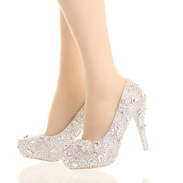 Wholesale Gorgeous Silver Shoes - Silver Rhinestone Gorgeous Cinderella Crystal Shoes Stiletto Platform Shoes The Bride Dress Shoes Graudation Party Prom Shoes