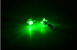 Wholesale Led Strobe Stars - New LED Stud Five-pointed Star Style Flash Earrings Hairpins Strobe LED Earring Luminous Earring Party Gift