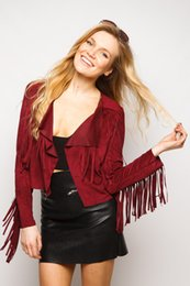 Wholesale Camel Cardigan - Wholesale-Faux Suede Small Lapel Tassel Irregular Fringed Cardigan Short Jacket Casual Outwear Coat Tops Black red camel High quality XL