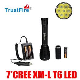 Wholesale Trustfire J18 Led - Super Bright TrustFire TR-J18 7*CREE XM-L T6 LED Flashlight 8000 Lumen 5-Modes Torches + 18650 Battery + Car Charger