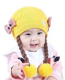Wholesale Baby Girl Hats Wig - Wholesale Baby Girls Bowknot Long Braid Wigs Beanies Knitted pom pom Hats Kids Children Winter Warm Double-deck Caps Skullcap MZ4082