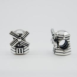 Windmühlenarmband online-Passt Original Pandora Armbänder Armreifen Halsketten WINDMÜHLE CHARME DIY Perlen Echt Solide 925 Sterling Silber Nicht Überzogen