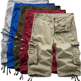 Wholesale Beach Cargo Pants - Men Casual Shorts Cargo Leisure Half Pants Loose Jeans Men Trousers Army Camouflage Capri Pocket Overalls Beach Pants OOA3225