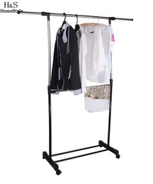Wholesale Metal Bathroom Shelf Rack - Adjustable Clothes Hanger Tidy Rolling Garment Rack Heavy Duty Rail With Shoe Shelf Portable