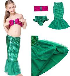 Wholesale Girls Baby Swimming Costumes - 2016 Baby Girls Mermaid Swimwear Children Mermaid Bikini Set Swimsuit Bathing Suit 2-9Y Kids Mermaid Swimwear Baby Swimming Costume D614