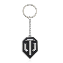Wholesale Trendy Products - Wholesale-WOT Game Related Products World of Tanks Keychain Tanks flag Key Chain Cool Accessories Jewelry Wholesale Gift for Men Boyfriend