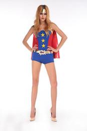 Wholesale Halloween Captain Uniform - Captain America superman batman superwoman role-playing Halloween dress COSPLAY uniform temptation