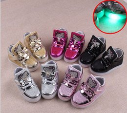 Wholesale Cat Girl Shoes - 2016 New children's shoes for girls running shoes LED KT cat Bright lights Single shoes free shipping size 21-30 Gold Silver Pink Black