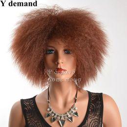 Wholesale Short Kinky Curly - Original Newest Afro Brown Hair Afro Short Kinky Curly Wig Fashion Siulation Brazilian Human Hair Wigs Full Wigs In stock Y demand