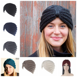 Wholesale Wholesales Muslim Women Wears - India Knitted Hats Women Winter Hats Turban Muslim Caps Head Wear Dome Knot Caps Warm Beanies 6 Colors OOA2788