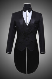 Wholesale Mens Tails - Long Tail Factory Direct Sell Jacket+Pants+Vest+Bow Mens Suits With Pants Black Wedding Suit Tuxedo OC28 Customize Smoking Casamento 2017