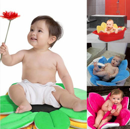 Wholesale Sunflower Cushions - Newborn Baby Bathtub Foldable Blooming Flower Shape Mat Soft Seat Infant Sink Shower Baby Flower Play Bath Sunflower Cushion mat