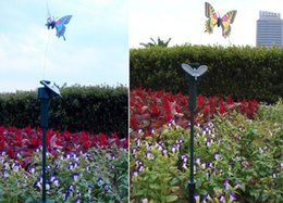 Wholesale Dragonfly Color Change Solar Light - Solar Lamps Butterfly dragonfly hummingbird Lawn Lamps Outdoor Stake Color Changing Light Garden Decorations Kids Toy gift
