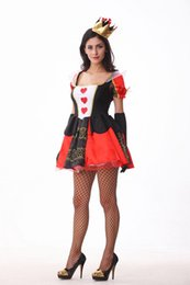 Wholesale Queen Hearts Dress - 2017 New The Queen Of Hearts Dress Sexy Cosplay Halloween Costumes Uniform Temptation Club Party Witch Clothing Hot Selling