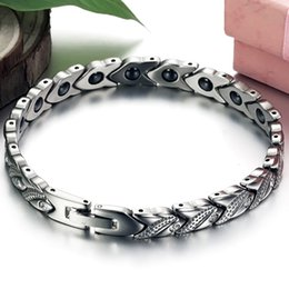 Wholesale Mens Health Bracelets - Delicate Jewelry Silver Stainless Steel Genuine Silicone Women Mens Bracelet With Health Care Stone 7.87""