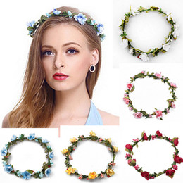 boho flower wreath wedding hair Coupons - Bohemian Terylene Flower Wreath Garland Crown Festival Wedding Bridal Bridesmaid Floral Headband BOHO Headdress Headpiece Hair Accessories