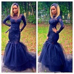 Wholesale Girls Silk Dresses Sleeves - Dark Navy Mermaid Long Sleeve Prom Dresses 2K16 Black Girl Couples Fashion Red Carpet Gowns with Beads Sexy Back Evening Gowns Custom