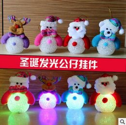 Wholesale Crystal Decorative Items - Christmas decorative items light with light Xiaoxue night light rice grain crystal snowman Christmas tree ornaments ornaments
