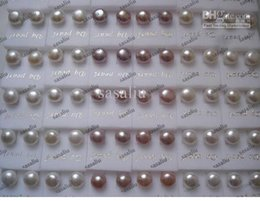 Wholesale 6mm Pearl - 100Pairs Fashion Jewelry Pearl Earrings Freshwater Pearl 925 Silver Earring 5~6MM Mix Color