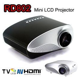 Ipad av online-Mini proyector portátil 1080P HD LED Proyectores LCD RD802 Reproductor multimedia HDMI / VGA / USB / SD / AV Cine para cine en casa para iPad Portátil