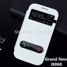 samsung galaxy slide telefon Rabatt Großhandels-hochwertiges geöffnetes Fenster mit Dia, zum der Telefonfunktion zu beantworten Schlag-Lederkastenabdeckung für Samsung-Galaxie grand Neo i9060 9060