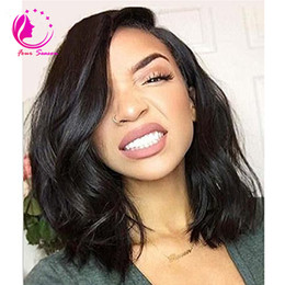 Wholesale Transparent Lace Glueless Wig - Brazilian Virgin Human Hair Lace Front Wig Glueless Short Bob Wavy with Baby Hair for Black Women