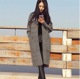 Wholesale Extra Long Coats Women - 2017 autumn and winter new women's fashion knitted long cashmere coat long-sleeved cardigan sweater coat gray camel free size