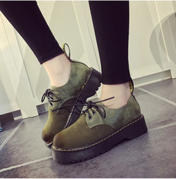 Wholesale Lace Up Oxford Platform Creepers - 2016 Fashion Platform Flats Women Lace-up Artificial Leather Shoes Woman Spring Autumn Creepers Oxfords Black Bullock Shoes